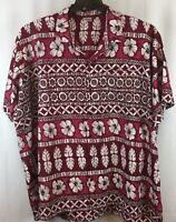 Happy Bay Hawaiian Shirt 3XL Red Pink Ivory Black Floral Aloha Short Sleeve