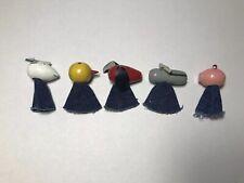 Vintage 6 Wooden Animal Finger Puppets Pig Dog Bird Mouse
