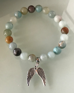 Protection Anxiety Stress Relief Guardian Angel Wing Amazonite Healing Bracelet