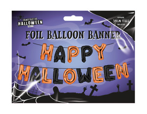 Happy Halloween Foil Balloon Banner 34cm tall 14 letters with thread to hang up