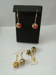 handmade gold plated christmas bell earrings