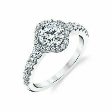 1.50 Ct. 14k White Gold Round Cut Halo Diamond Engagement Ring