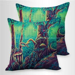 Set of 2 trippy psychedelic mushroom cushion covers throw pillow covers 18x18