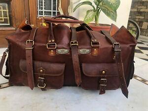 "26"" Mens Leather G V B Travel Duffle Luggage Vintage Large Weekend Overnight Bag"