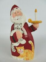 """Old World Santa 7"""" Figurine Hand Carved by Eddie Walker Midwest Cats & Candle"""
