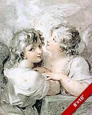 TWO YOUNG ANGELS TALKING PORTRAIT PAINTING BIBLE CHRISTIAN ART REAL CANVAS PRINT