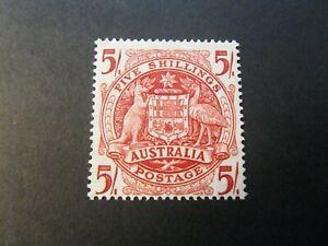 Australia  1951  Mnh  5/- Thin paper stamp