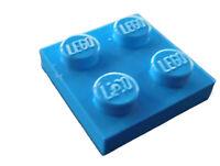 Lego 10 Stück Platte 2x2 in dunkel azurblau (dark azure) 3022 Neu Platten Basics