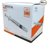 3ml Syringe Sterile with Luer Lock Tip - 100 Syringes by BH Medical (No needle)