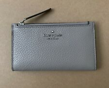 Authentic KATE SPADE Jackson  Small Slim Bifold Leather WALLET New Soft Taupe