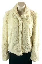 Juniors Bongo Off-White Faux Fur Jacket Size L Large Hook Closure Very Soft