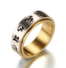 Buddhist Matte Stainless Steel Ring Turnable Sanskrit Spinner Band 8mm Size O-y 12(y)