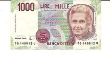 Beautiful 1990 Italy 1000 Lire Note Gorgeous Colorful Note !