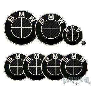 For BMW Badge Gloss Carbon Fibre Black x2 All Models Decal Sticker Fiber Overlay