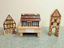 Set of Vintage Wooden Putz Figures - Chalet And 2 House Figures