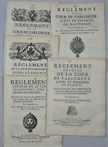 LOT Règlement Général de la Cour Aydes & Finances de Dauphiné 1706 à 1772