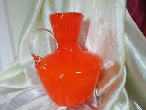 RETRO MID CENTURY CASED GLASS LARGE ITALIAN ORANGE JUG VASE