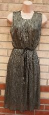 SABRINA DIAMANTI SILVER GOLD WRINKLE FRILLY A LINE BELTED  PARTY XMAS DRESS XL