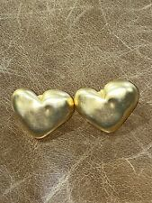 Vintage 1980s 1990s Givenchy Matte Finish Heart Earrings Pierced