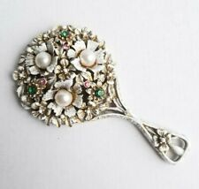Florenza Jeweled Miniature Hand Mirror Pearl Crystal Floral Bouquet White Gilt