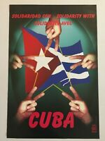 Political POSTER OSPAAAL Solidarity with the Five.Cuba original art.Cuban flag