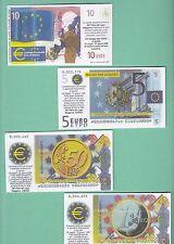 Euro BANCONOTE FAC-SIMILE 4 Pz. BUONO PER ACQUISTI 36° FIERA LAGO MAGGIORE ARONA