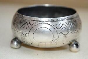1887 Antique Imperial Russian Sterling Silver 84 Salt Cellar Bowl Engraved 20 gr