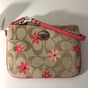 Coach F51356 Wristlet Wallet Khaki Signature Fabric with Coral Daisy Print NWT