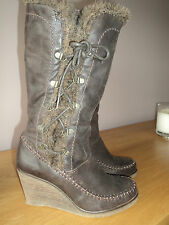 NEXT NUBUCK LEATHER WEDGE BOOTS SIZE 3 (35.5) - EXCELLENT QUALITY & CONDITION