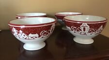 "4 Williams And Sonoma Red Tree Holiday Bowls New W Out Ticket 3.5""h Free Ship"