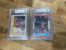 Michael Jordan ROOKIE CARD 1986-1987 Fleer RC and Sticker. #57 and #8 BGS GRADED
