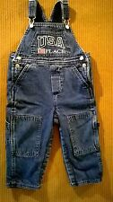 """Boy's Toddler Lined """"USA Place"""" Blue Jean Overalls Size 18 Months"""