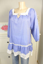 H&M Bluse Tunika Lace Häkel Spitze A-Form Blau Weiß Gr. S 36 (BD257)