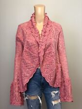 NEW MOTH Anthropologie Pink Mohair Wool Open Cardigan Sweater SZ S