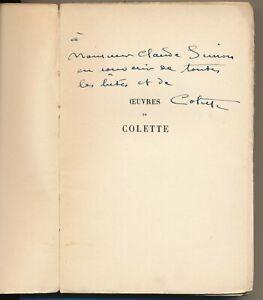 COLETTE Œuvres de Colette. Douze dialogues de bêtes dédicace autographe signé