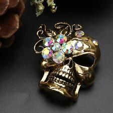 Flower Skull Alloy Rhinestone Crystal Wedding Party Bouquet Brooch Pin Accessory