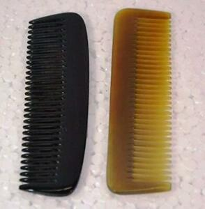 "100% Handmade Natural Horn Comb without Handle 5-7"" Pocket Comb Set Of 2"
