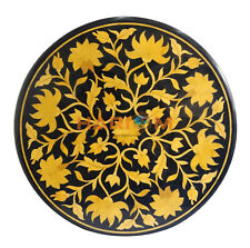 "36"" Black Marble Round Dining Table Top Marquetry Inlaid Outdoor Furniture B137"