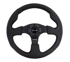 NRG Innovations Race Series Steering Wheel Black Leather Black Spokes - RST-012R