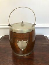 ANTIQUE VINTAGE TIGER OAK AND SILVERPLATE BISCUIT BARREL PORCELAIN & SHIELD
