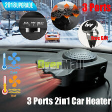 3 Ports 2in1 12V Portable Car Heater Cooling Fan Heater Defroster Demister +Gift
