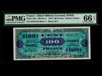 France:P-123c,100 Francs,1944 * Allied Military WWII * PMG Gem UNC 66 EPQ *