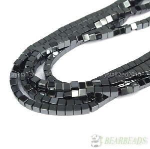 "Natural Black Jet Hematite Gemstone Square Cube Beads 2mm 4mm 6mm 8mm 10mm 16"""