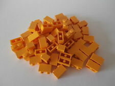 + LEGO 60 colore arancione chiaro i blocchi predefiniti 1 x 2 scanalata Nuovo + Molto Raro