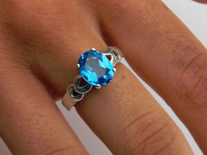 Swiss Blue Topaz 3.26 cts - 10x8mm Oval Ring - Sterling Silver