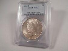 1934-D  Peace Silver Dollar, PCGS MS-62 Beautiful & Lustrous, KEY DATE