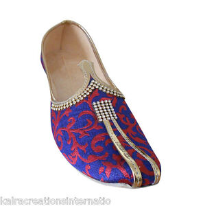 Indian Wedding Mojaries Men Shoes Groom Flip-Flops Punjabi Khussa Flat US 7-12