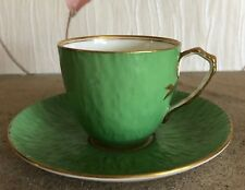 AYNSLEY ART DECO CUP AND SAUCER SMALL GREEN WITH GOLD TRIM B3343 VERY DAINTY