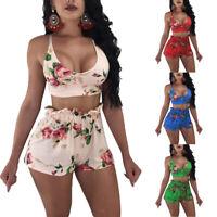 Women 2 Piece Set Floral Bandage Crop Top Shorts Summer Outfits Short Jumpsuit