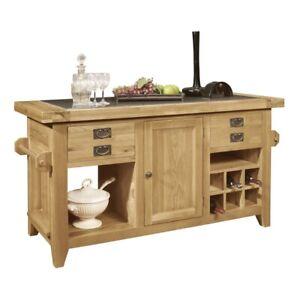 Panama Solid Rustic Oak Furniture Granite Top Large Kitchen Island Unit